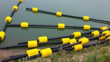 pipeline floats ready for operation